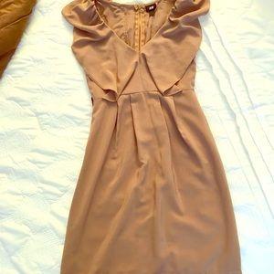 H&M Nude/Tan Ruffle Dress - Size 2